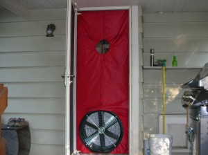 blower door from outside of house