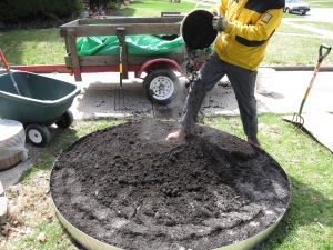 mixing compost for the strawberry bed