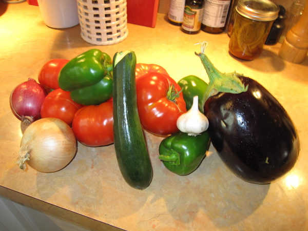 Ratatouille fixings - all from our garden except the onions