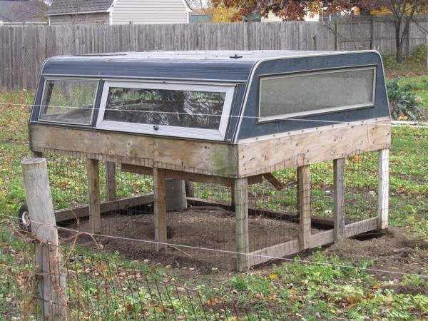 Repurposed truck cab serves as chicken coop