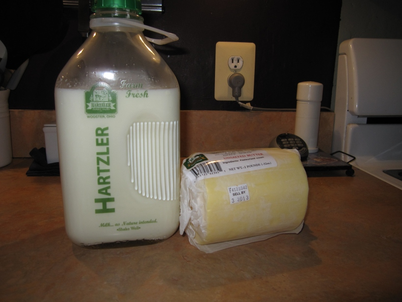 Hartzler Dairy products - whole milk (pasteurized according to state law, but non-homogenized) and unsalted butter
