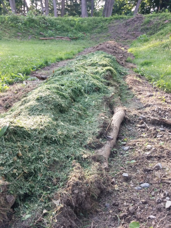 Logs are at the base of the trench and covered with grass clippings.